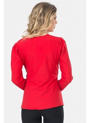 İroni Uzun Kollu Anvelop Bluz Kırmızı